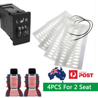 4PCS Carbon Fiber Heated Seat heating Pad W/ 5-level Switch For 2 Seat Universal