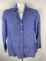 Foxcroft Womens Sz S Chambray Button Front Blouse 3/4 Sleeves Blue Linen