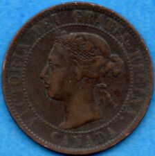 Canada 1893 1 Cent One Large Cent Coin - Fine