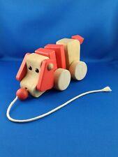 Jouet en bois chien à tirer vert baudet 20cm