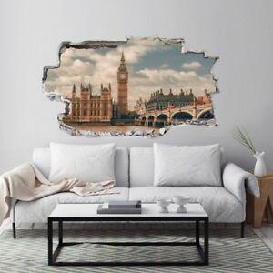 ADESIVO MURALE WALL STICKERS SQUARCIO MURO LONDRA LONDON BIG BEN EFFETTO 3D