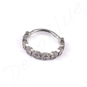 SURGICAL STEEL MILGRAIN HINGED CONCH RING with CRYSTAL GEMS Cartilage Ear Hoop