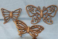 Vintage Brown Faux Wicker Butterflies 7537 1978 Dart Home Interiors Homco Decor
