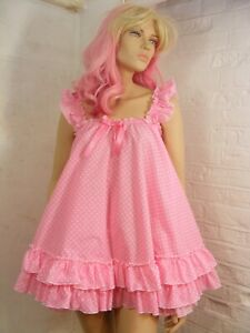 sissy adult baby dress pink spotted cotton nightie fancy dress ddlg lolita