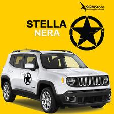 Coppia adesivi stella per porte Jeep Renegade e Wrangler Nera diametro 40 cm