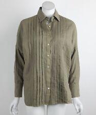 Free People Roads to Roads Button Down Top Shirt Tuxedo Blouse Green XS New