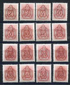 HUNGARY 1941 WW2 GERMAN PUPPET STATE POSTAGE DUE SET J151-J166 PERFECT MNH