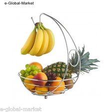 Ciotola frutta cesto appeso gancio supporto Frutta Banana Appendiabiti da cucina Cromo