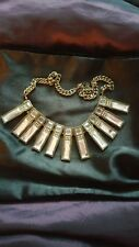 Vintage Art Deco Style Clear Stone Bronze Chain Dangle Fringed Necklace