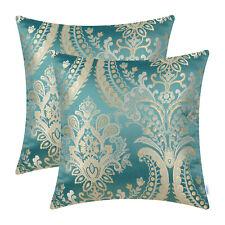"2Pcs CaliTime Teal Pillow Shells Case Cushion Cover Floral Sofa Car Decor 18x18"""