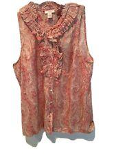 J. Crew Sleeveless Rose/Ivory Paisley Silk Blouse Womens Size 10