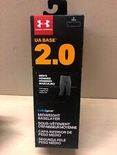 NIB Under Armour Men's UA Base 2.0 Leggings Black COLDGEAR Baselayer Small New