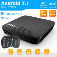M8S Pro TV Box Android 7.1 4K 3GB DDR4 Octa Core WIFI Free i8 USB Mouse Keyboard