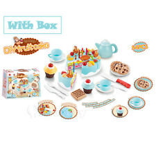 Blue Kids Birthday Candle Strawberry Cake Kitchen Set Pretend Play Toys Gift Box