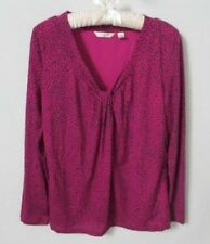 Liz Claiborne purple geometric polyester v-neck long sleeve blouse *Sz L*
