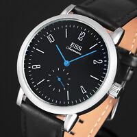 ESS Mens Watch Mechanical Automatic Black Dial Blue Hands Analog Bauhaus Luxury