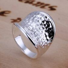 *UK Shop* 925 SILVER PLT HAMMERED THUMB SHIELD STATEMENT RING CHUNKY HEAVY MEN