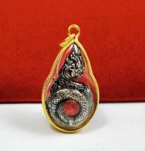Naga Dragon Figure Talisman Gold Micron Pendant Rich Lucky Charming Love Amulet
