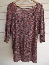 Jag Women's Pink White & Blue Knit Top - Size XL