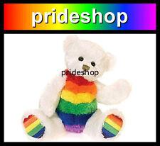 Rainbow And White Beanie Bear Soft Plush Toy Genuine Lesbian Gay Pride #978
