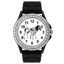 Bluetick Coonhound Dog Crystal Mens Ladies Jelly Silicone Wrist Watch Sg135P