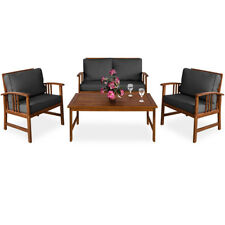 Wooden Garden Lounge Patio Table Bench Chair Set Outdoor Cushion Sofa Furniture
