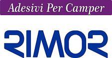 2 ADESIVI RIMOR  COLORE BLU ELETTRICO  - 58X16 centimetri - LOGO CAMPER  - RIMOR