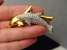 Signed Swarovski Pave Crystal Dolphin Mom & Baby Pin Brooch Retired