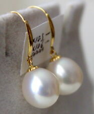 gorgeous 12-13mm south sea white pearl dangle earring 14k