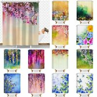 Floral Print Waterproof Bathroom Home Decor Shower Curtain Set With 12 Hooks
