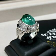 MENS 8.27TCW Natural Emerald Diamond 18K Solid White gold ring Cabochon Unisex