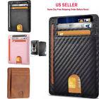 Slim Minimalist Front Pocket RFID Blocking Leather ID Card Wallet for Mens Woman