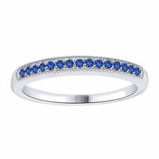 0.15 Carat Round Blue Sapphire 10K White Solid Gold Anniversary Band Ring