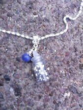 "Necklace silver glitter pot blue catseye charm 23"" silver plated chain Handmade"