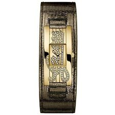 GUESS COPPER PYTHON LEATHER CUFF+CRYSTALS LOGO GOLD TONE WATCH-W90056L1-NEW