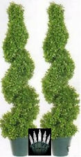 "2 Artificial 39"" Outdoor Boxwood Spiral UV Topiary 3' Tree Bush Christmas Lights"