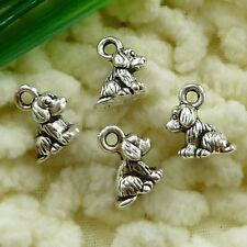 Free Ship 100 pieces tibetan silver dog charms 11x7mm #1621