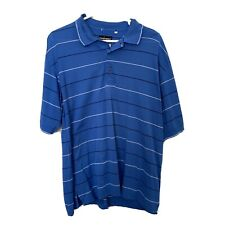 New listing Mens Golf Polo Top Size L Collar Short Sleeve Blue Stripe Sports Top Tee T-Shirt