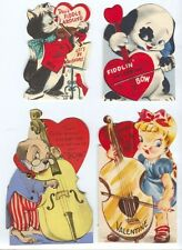 4 vintage Stringed Instrument Valentines Base Violin