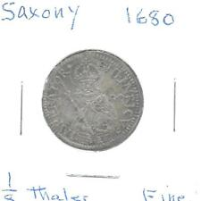 Germany(Saxony) 1680 1/8 Thaler Silver Coin Toned Fine