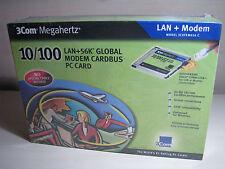 NEW! 3COM Megahertz PC CARD 10/100 LAN + 56K Global Modem Cardbus (3CXFEM656C)