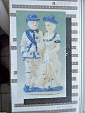 NIB Vintage LAREAUX 1989 Hand Painted PORCELAIN Blue & White VICTORIAN COUPLE