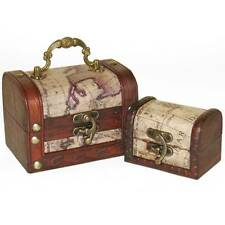 Set Of 2 Map treasure Chest Boxes Colonial Retro style Wooden-Trinket Box-Trunk