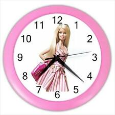 "Barbie Fashion Shopping Look 10"" Round Pink Frame Wall Clock"