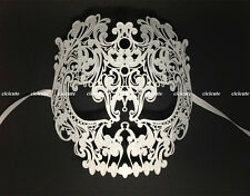 Skull Collection White Metal Venetian Masquerade Womens Mens Hollow Mask