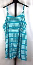 Lane Bryant Turquoise Striped Sleeveless Dress Plus Size 26/28