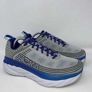 Hoka One One Mens Bondi 6 Running Shoes Size 10 Wide Gray Blue Athletic
