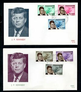 Rwanda 1963 John F Kennedy 2nd Anniversary of Death Set on 2 x First Day Covers