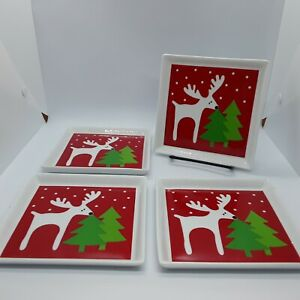 Four Crate and Barrel Reindeer snack plates