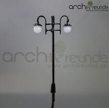 2 x LED Altstadt Laterne schwatz 2-flammig 6cm 1:87/1:100 Modellbahn Spur H0/TT